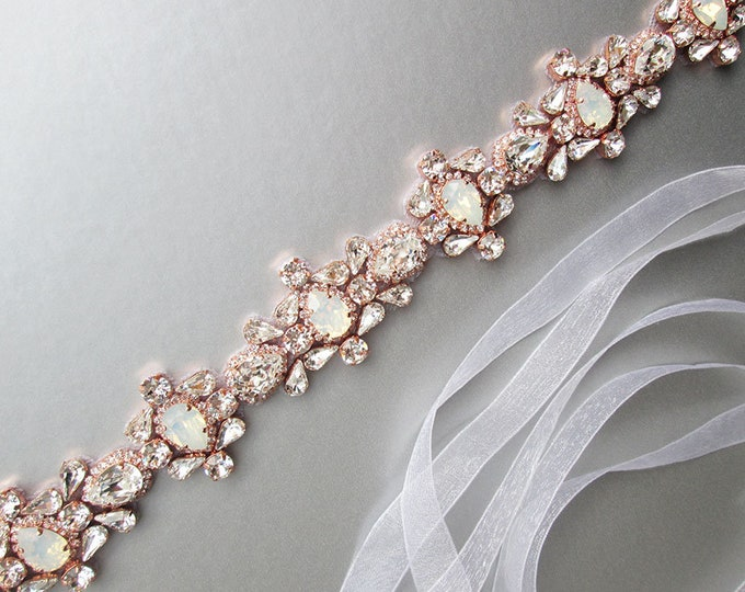 Rose gold Opal bridal Swarovski belt, Crystal belt sash in gold, silver, Wedding belt, Waist sash, Opal bridal belt, Crystal beaded belt
