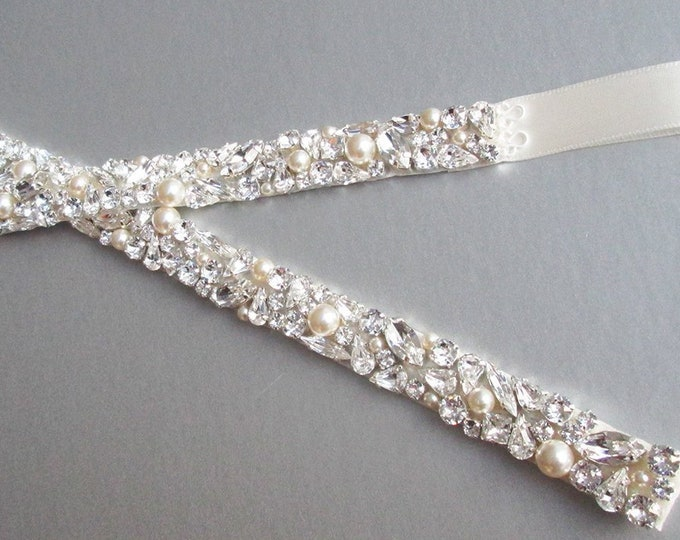 Fitted Bridal belt, Swarovski crystal and pearl sash, Beaded rhinestone and pearl crystal belt with clasp in gold, silver, rose gold