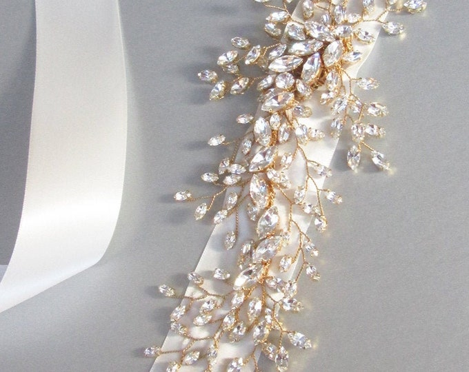 Exquisite bridal belt sash, Bridal Swarovski crystal belt sash, Wedding crystal belt, Swarovski crystal floral belt, Gold, silver, rose gold