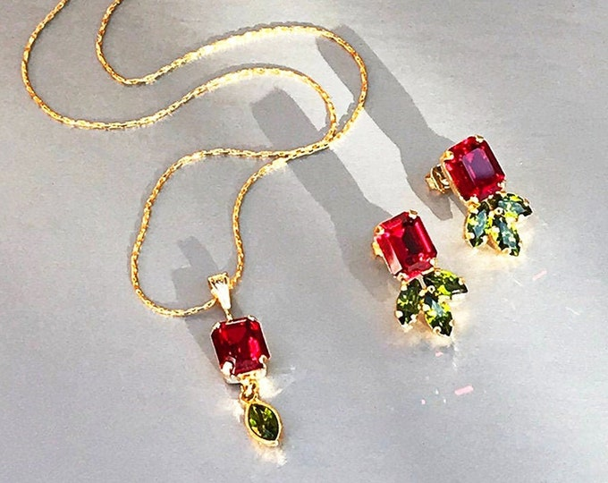 Red Rose Swarovski crystal jewelry set, Ruby peridot necklace earrings, Dainty siam jewelry in gold, silver, rose Wedding party bridesmaids