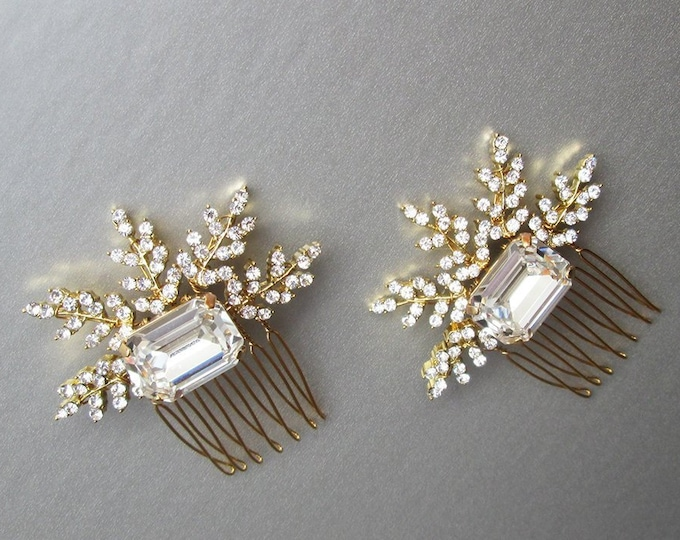 Gold crystal hair combs, Bridal crystal hair combs, Swarovski hair combs, Sparkly leaf hair pins, Bridal hair combs in gold or silver