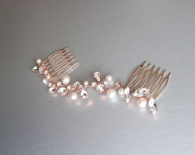 Crystal and pearl bridal hair vine, Swarovski wedding hair comb hair vine, Crystal hair comb, Bridal comb in rose gold, silver, gold