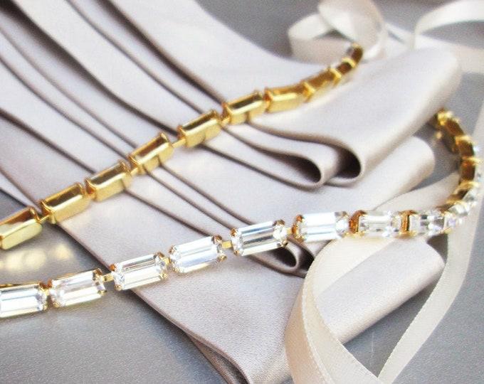 Thin Swarovski bridal belt, Super skinny bridal belt, Dainty crystal belt sash, rhinestone wedding belt, Belt in gold, silver rose gold sash