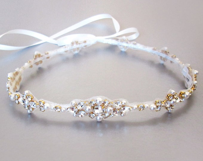 Bridal halo headpiece, Swarovski bridal halo, Wedding halo in Gold, Silver, Rose gold, Bridal headband halo with crystal and pearl