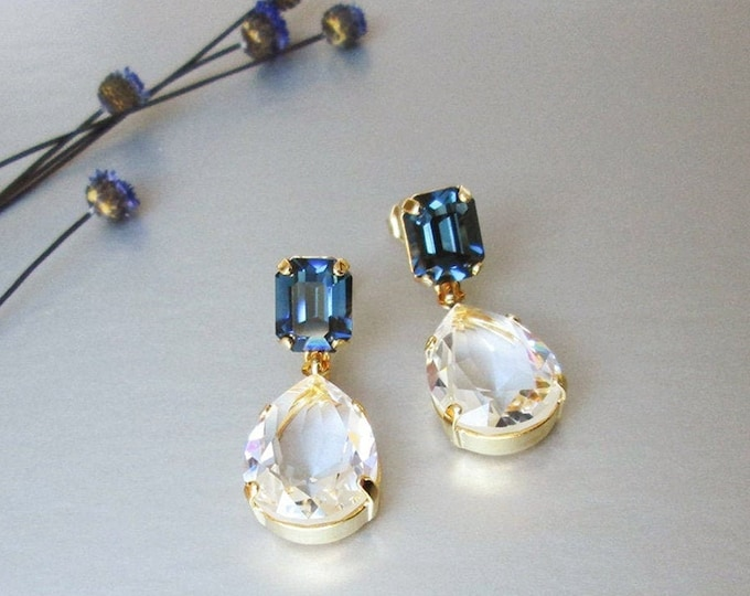 Something blue transparent drops, Swarovski crystal bridal earrings teardrop cut earrings, Drop earrings gold silver rose gold Sapphire blue