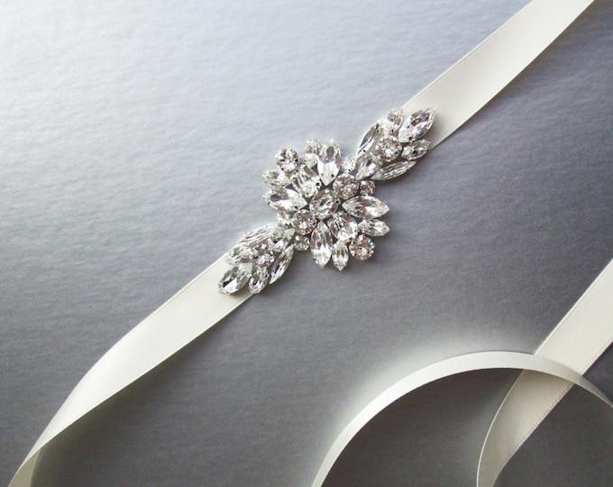 Swarovski bridal belt sash, Wedding belt sash, Crystal belt, Rhinestone bridal belt, Skinny bridal sash, Swarovski belt, Bridal belt sash