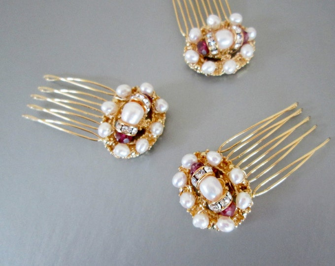 Bridal hair combs, Bridal gold hair combs, Swarovski hair combs, Small bridal hair combs, Swarovski crystal and pearl hair comb with garnet