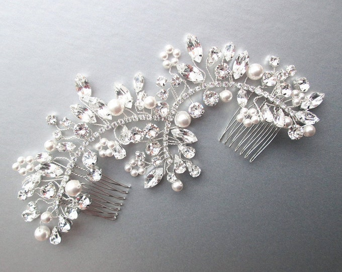 Swarovski crystal and pearl hair vine comb, Wedding hair comb, Swarovski crystal hair vine, Bridal headpiece in silver, gold, rose gold
