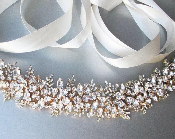 Couture Bridal Swarovski crystal belt sash, Swarovski crystal belt, Wedding belt, Floating crystal belt, Exquisite belt or headband