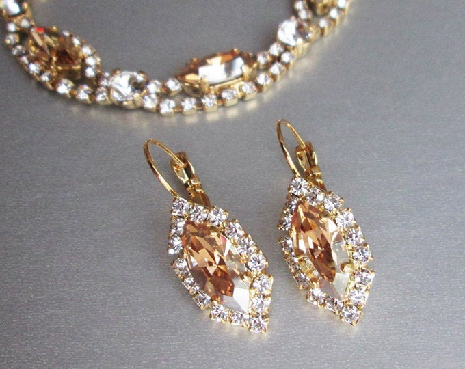 Marquise champagne bridal crystal earrings, Swarovski earrings, Honey champagne earrings, Wedding earrings in gold, silver, rose gold