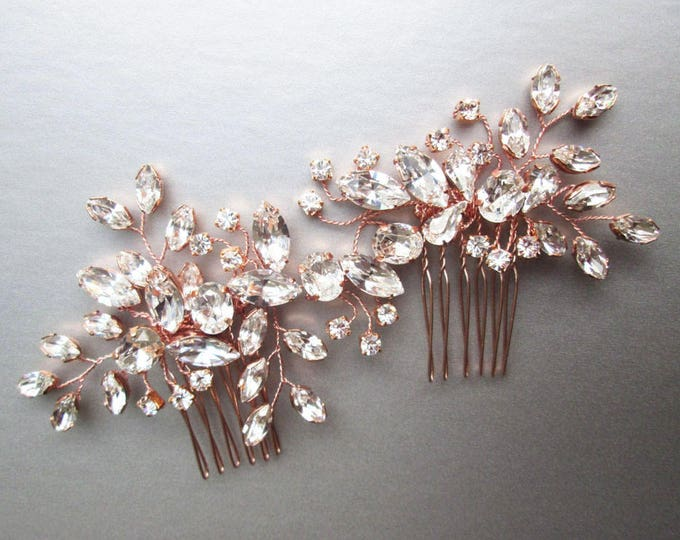 Rose gold Swarovski crystal hair vine, Bridal comb, Wedding hair vine, Crystal hair comb, Bridal comb hair vine in gold, rose gold, silver