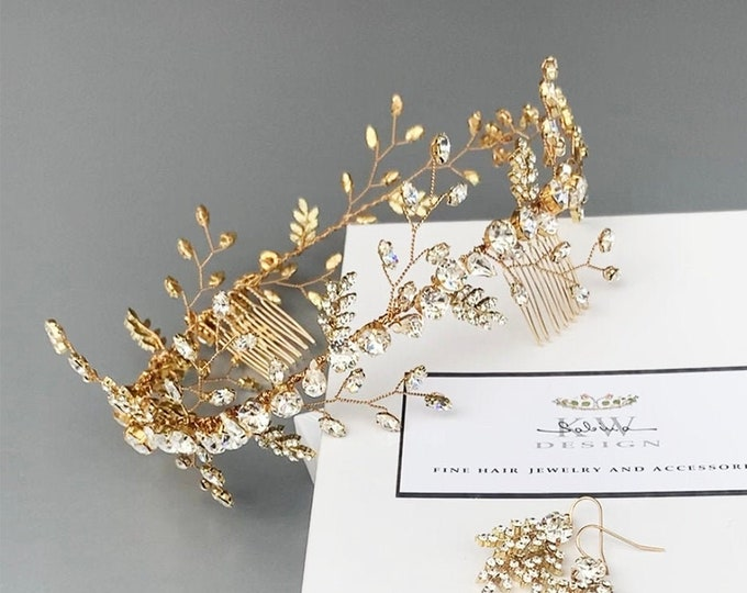 Swarovski crystal circlet headband in gold, silver, rose gold, Bridal crystal halo headband, Wedding rhinestone headband circlet hair vine