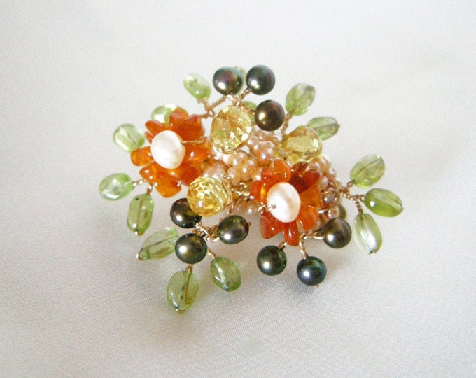 Gold barrette hair clip, Small barrette hair clip with gemstone flowers and leaves, Bridal gemstone barrette hair clip, Bridal hair pin