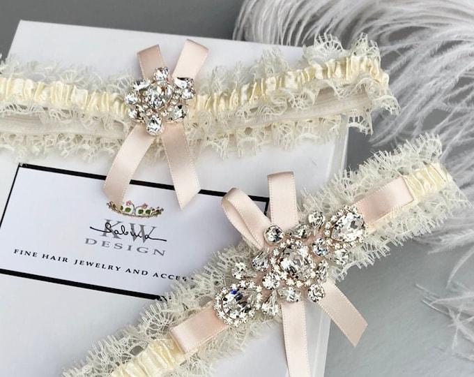 Blush Swarovski bridal garter set, Bridal garter set, Wedding garter, Pale pink Swarovski bridal Rhinestone sparkly garter set gold, silver