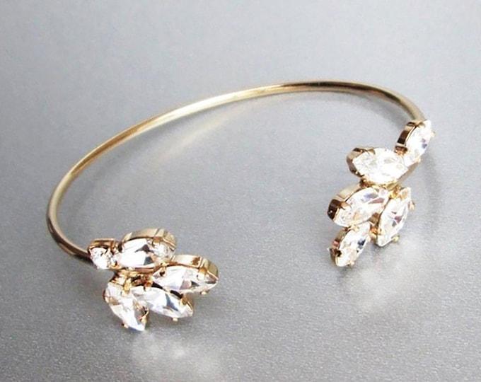 Swarovski crystal bridal bracelet, Swarovski bracelet, Wedding crystal rhinestone bracelet, Sparkly bridal bracelet, Gold, rose gold, silver