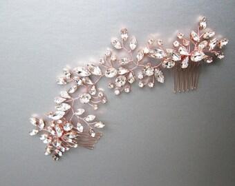 Rose gold Swarovski bridal hair vine, Rose gold bridal comb, Wedding hair comb, Rhinestone bridal headpiece, Wedding hair vine gold, silver