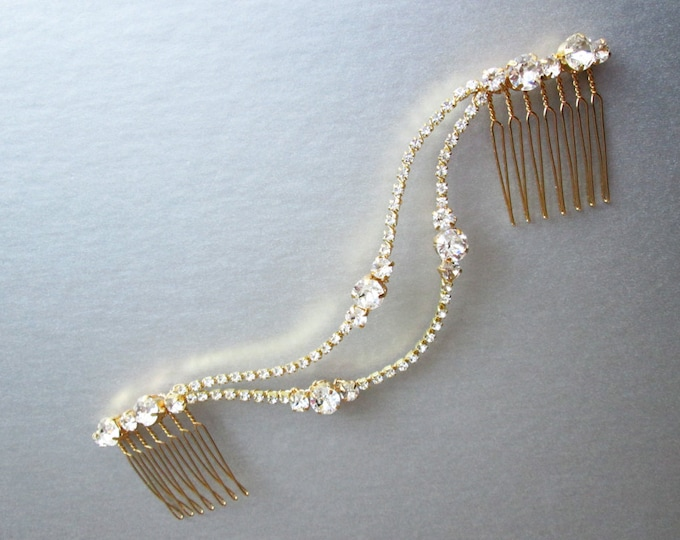 Swarovski crystal hair vine in gold, silver, rose gold, Bridal hair comb, Wedding hair comb, Dainty crystal hair vine, Wedding hair vine