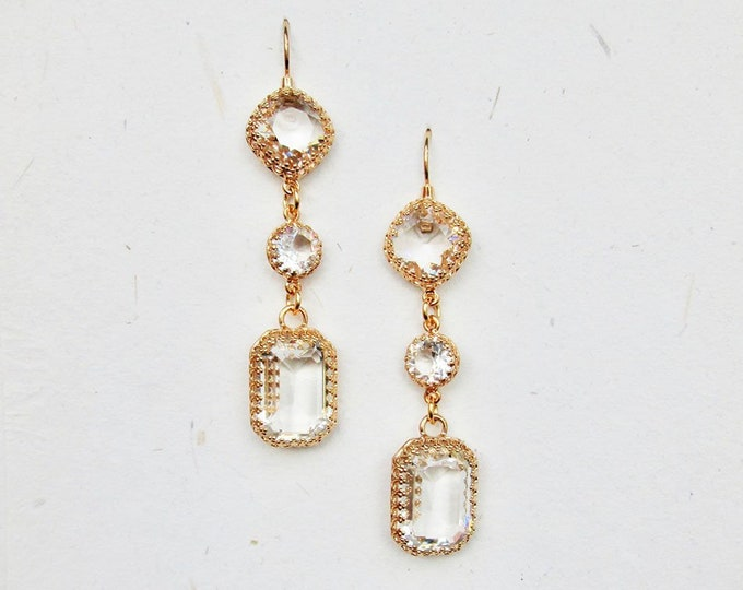 Transparent Swarovski crystal bridal earrings, Emerald cut drop earrings, Linear earrings in gold, silver, rose gold, Long Wedding earrings