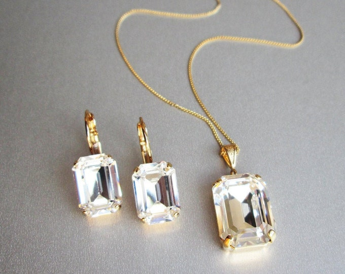 Emerald cut Swarovski crystal jewelry set, Octagon Bridal crystal earrings necklace set, Bridesmaids jewelry set in gold, silver, rose gold