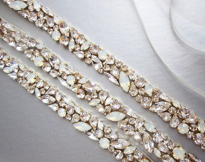 Opal bridal belt, Swarovski crystal sash, Beaded crystal white opal waist sash full length, Wedding belt belt in gold or silver, rose gold
