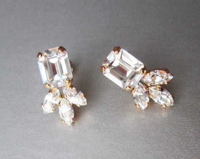Swarovski crystal studs, Octagon stud earrings, Dainty stud earrings in gold, silver, rose, Wedding earrings emerald cut