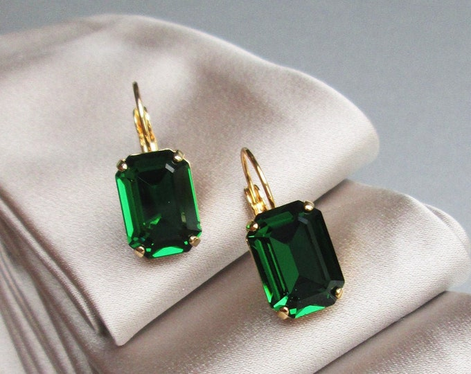 Dark moss green Swarovski crystal bridal earrings, Emerald cut Swarovski drop earrings in gold or silver, Bridal party earrings wedding