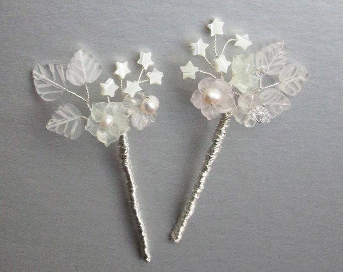 Stars and Gems -  Bridal gemstone and crystal hair pins, Swarovski hair pins, Crystal and pearl hair pins, Hair pins gold, silver, rose gold