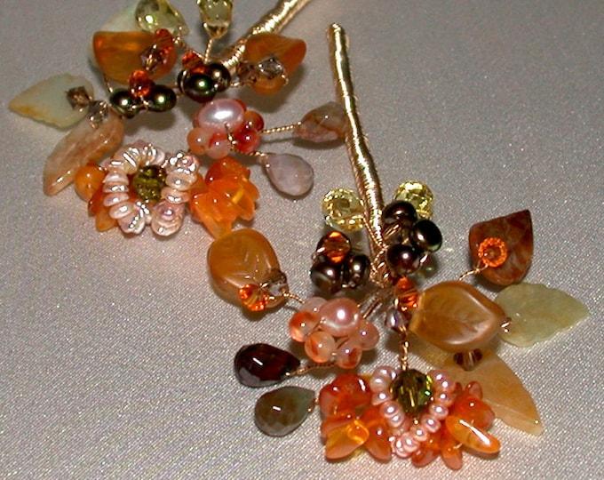 Bridal hair pin, Gemstone, pearl and crystal hair pins, Crystal hair pins, Wedding hair pins, Autumn hair pins bridal - priced per  piece