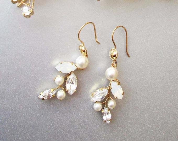 Bridal crystal and pearl earrings, Swarovski crystal opal bridal earrings, Leaf vine earrings, Bridesmaids drop earrings in gold or silver