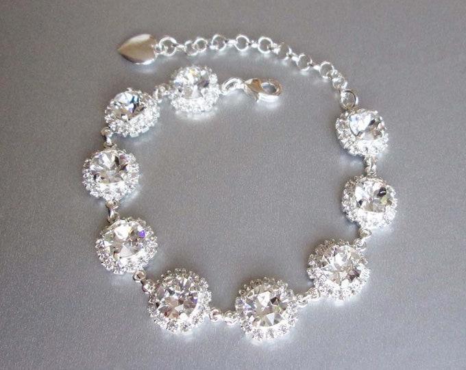 Swarovski crystal bridal bracelet, Swarovski bracelet, Wedding crystal rhinestone bracelet in gold, silver, rose gold, Sparkly bracelet