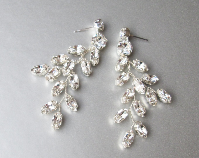 Bridal crystal earrings, Sparkly crystal earrings, Bridal leaf earrings, Swarovski earrings, Wedding crystal earrings with posts, rose gold