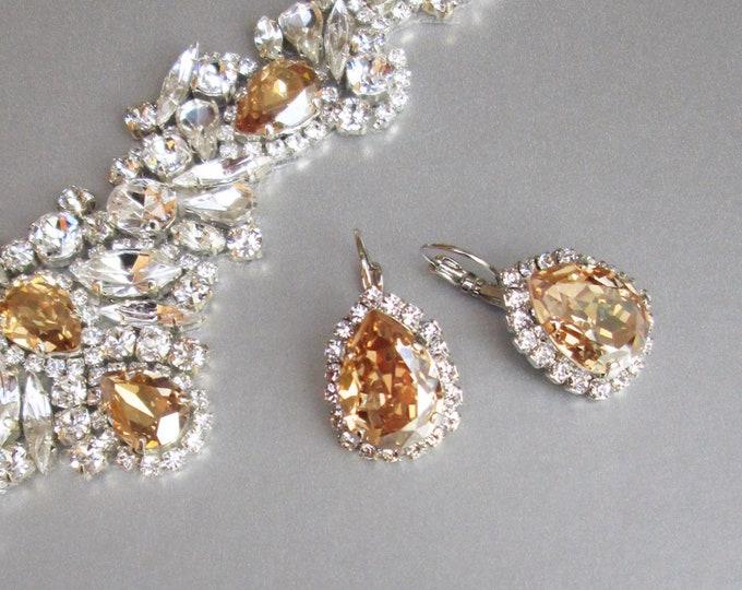 Champagne bridal earrings, Swarovski crystal honey champagne earrings, Drop earrings, Wedding earrings in gold, silver, rose gold,