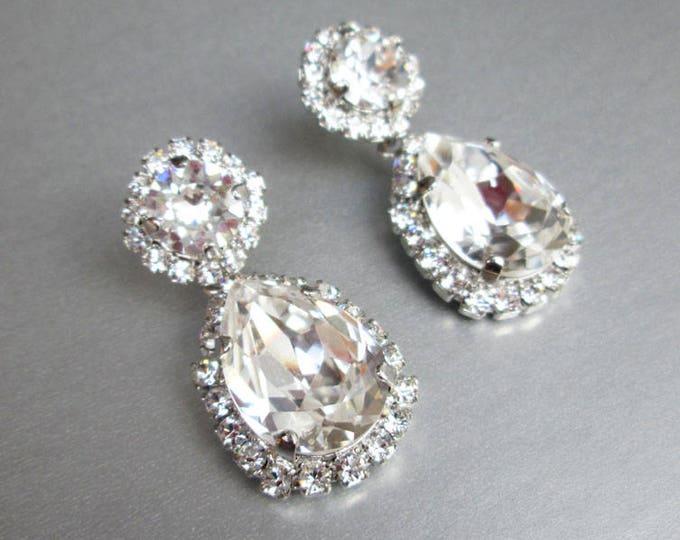 Bridal crystal earrings, Swarovski crystal bridal earrings, Teardrop dangling earrings,  Bridal rhinestone drop earrings in gold or silver