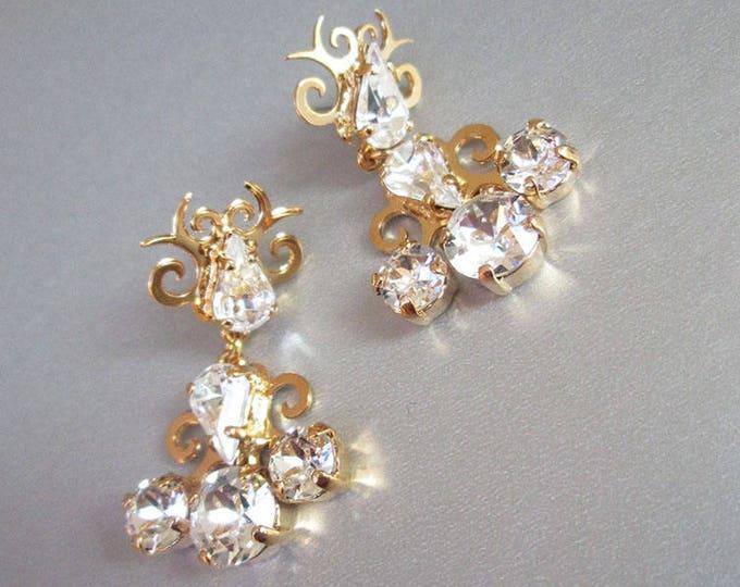 Bridal Swarovski earrings, Vintage style crystal earrings, Rhinestone earrings, Wedding chandelier drop earrings in gold, silver, rose gold