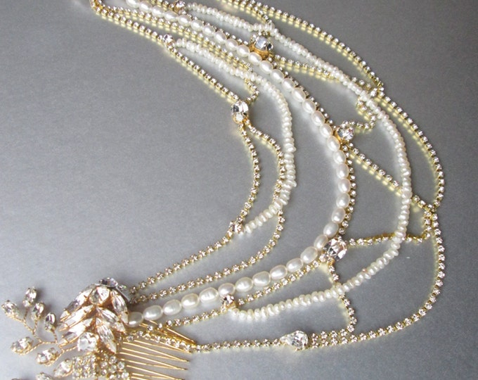 Bridal head chain, Bridal combs, Swarovski crystal and pearl bridal combs with swags, Wedding chain headpiece, Swag chain head piece