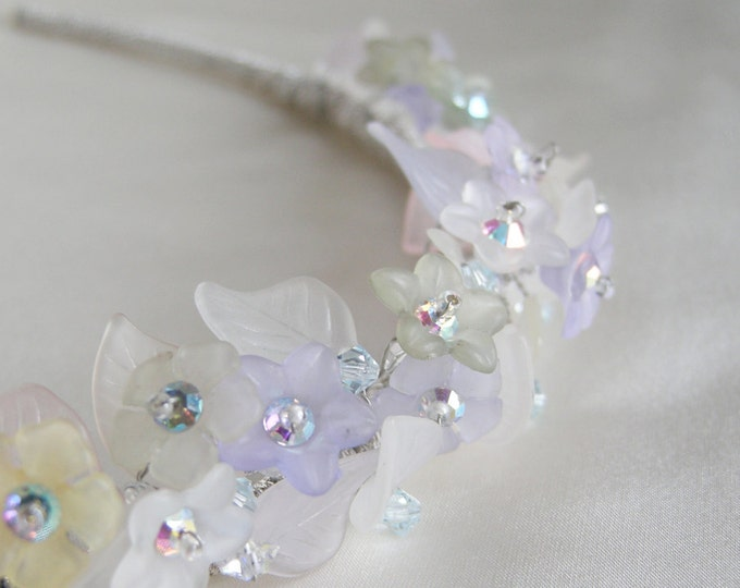 Pastel rainbow colors highlight flowery tiara, Bridal crystal tiara head band, Swarovski crystal bridal tiara, Iridescent bridal tiara