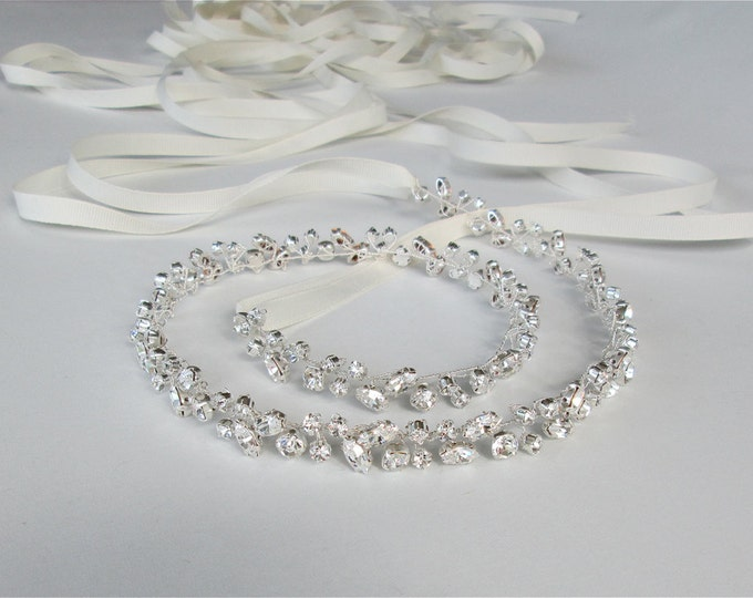 Skinny bridal belt sash, Crystal wedding belt, Petite crystal belt in gold or silver