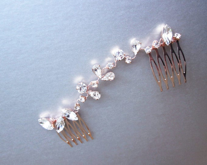 Swarovski crystal hair vine, Bridal crystal hair vine, Dainty crystal hair vine, Bridal comb in rose gold, silver, gold, Wedding hair vine