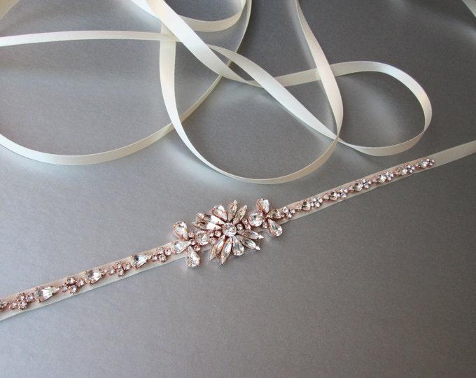 Bridal Rose gold skinny belt, Skinny bridal belt sash, Swarovski belt, Crystal wedding belt, Rhinestone bridal belt, Skinny bridal belt sash
