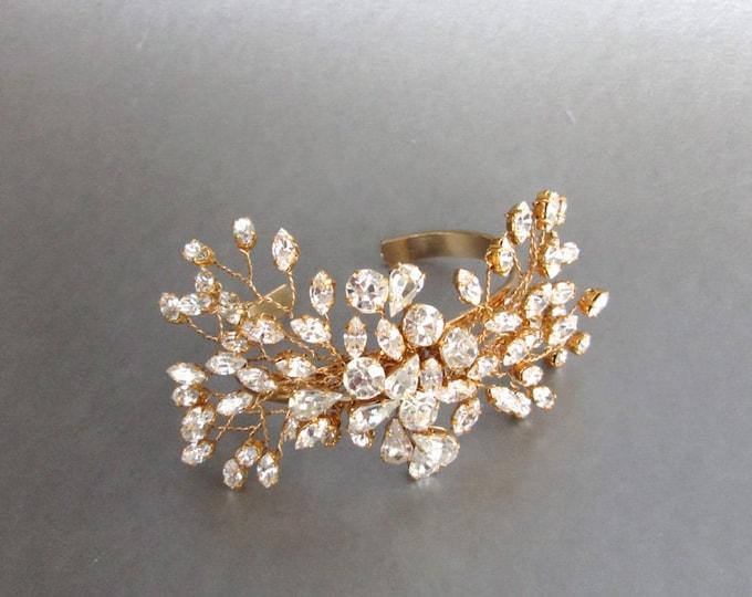 Swarovski crystal bridal bracelet, Swarovski cuff bracelet, Wedding crystal rhinestone bracelet in gold or silver, Swarovski bracelet