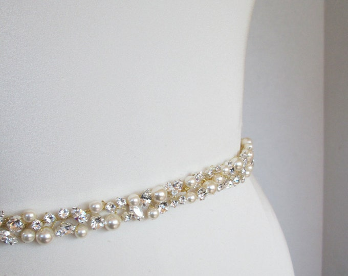 Bridal belt, Swarovski pearls and crystal sash, Beaded rhinestone and pearl crystal waist sash, Petite crystal belt in gold or silver