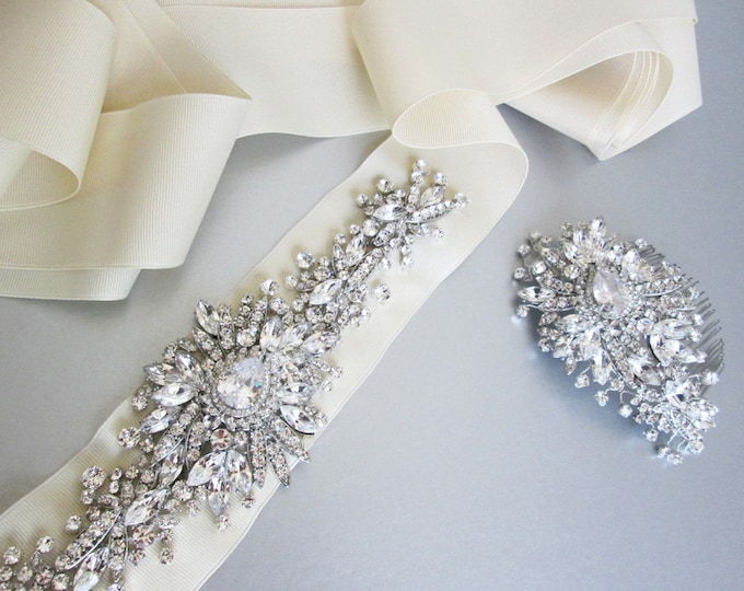 Bridal belt and headpiece set, Bridal crystal belt and hair comb set, Wedding crystal belt and comb set, Rhinestone belt and headdress