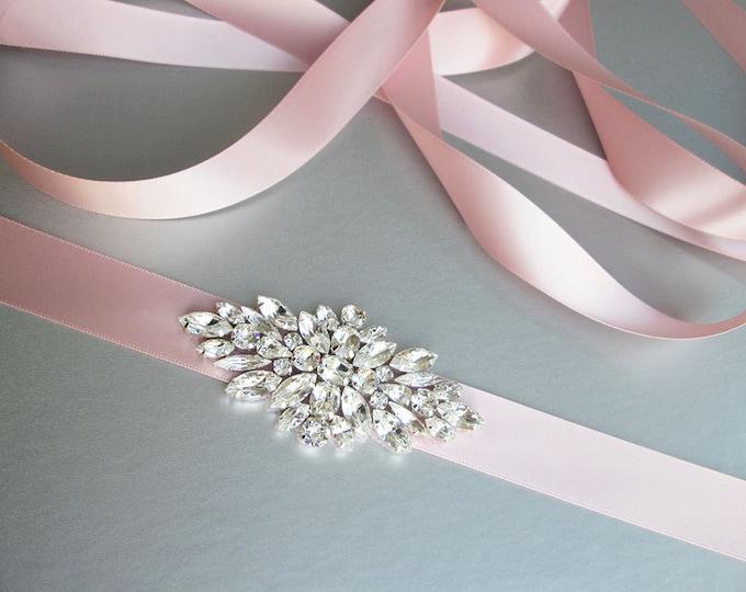 Blush Pink Bridal belt sash, Swarovski crystal bridal belt, Silver Wedding belt, Rhinestone bridal belt in gold, silver, rose gold