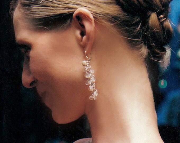 Bridal crystal earrings, Silver crystal earrings, Dangle earrings with quartz crystal, Wedding crystal drop earrings, Chandelier earrings