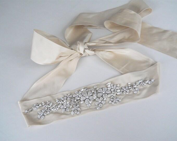 Bridal crystal belt sash, Champagne/ Dark ivory silk taffeta crystal sash belt, Crystal waist sash, Rhinestone belt sash