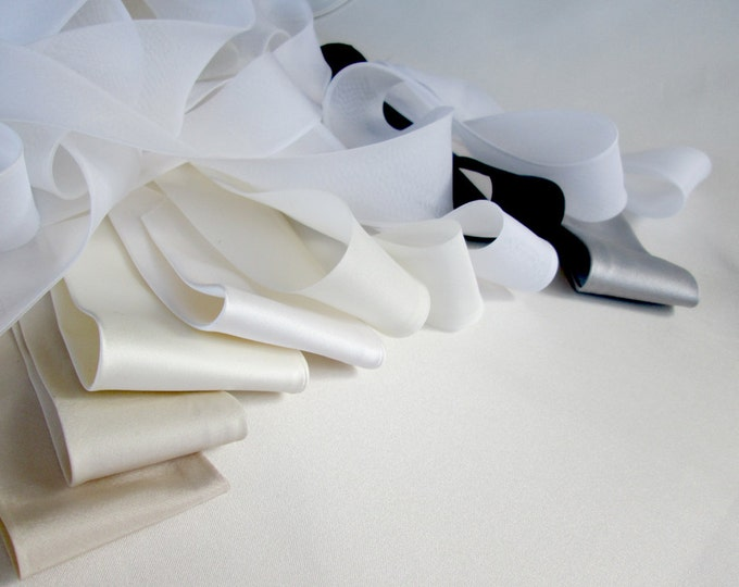 Sash fabric swatches, Color sample swatches, Silk organza, satin and taffeta swatches for the bridal crystal belts sashes