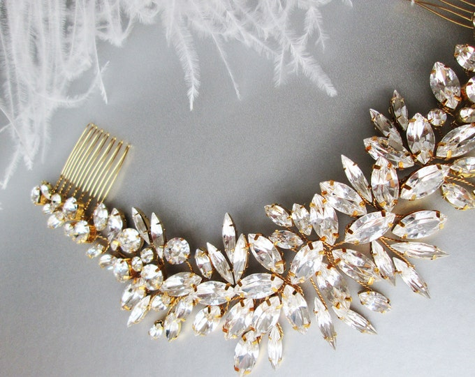 Swarovski crystal hair vine, Bridal comb, Wedding hair Swarovski hair vine, Leaves crystal hair vine, Rhinestone bridal headpiece comb vine