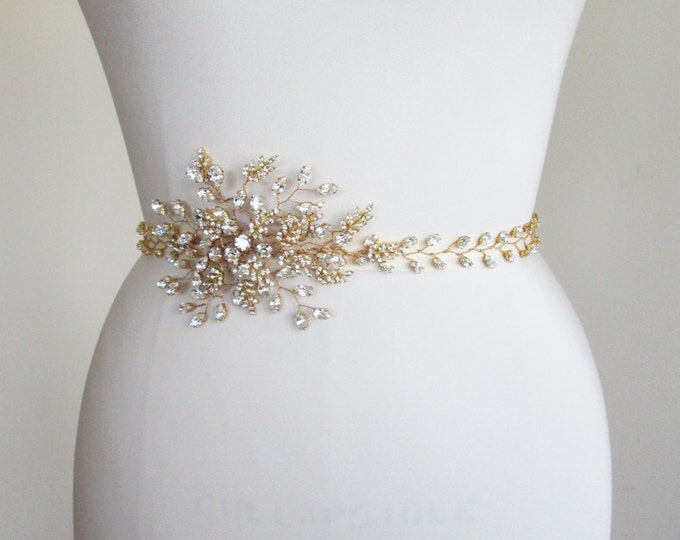 Swarovski Bridal crystal belt sash, Rhinestone wedding belt sash, Waist sash beaded rhinestone belt, Sash belt in gold, silver, rose gold