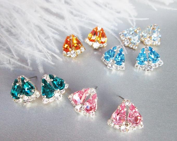 Topaz Dainty Bridal crystal studs, Swarovski earrings, Wedding earrings, Stud rhinestone earrings bridal party, bridesmaids