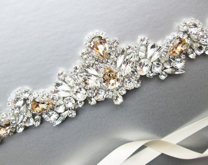 Champagne Swarovski crystal bridal belt, Crystal belt in silver or gold, Wedding belt, Waist sash, Swarovski belt, Rhinestone bridal belt